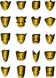 20 Masks. A set of 20 different gold vector mask design elements stock illustration