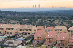 20 Miles from Madrid. Suburban housing development 20 Miles from Madrid, with view of the city at dawn Royalty Free Stock Photography