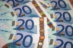 20 notas/cuentas euro Foto de archivo libre de regalías