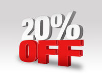 20% Off Discount Offer. 3d rendered illustration on a light gray-white gradient background Stock Images