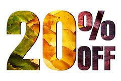 Free 20 Off Discount Promotion Sale Poster, Ads. Autumn Sale Banner With Green, Yellow And Red Leaves On White Background. Royalty Free Stock Images - 156699619