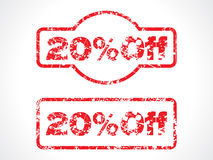 20% off grunge stamp. Vector illustration Royalty Free Stock Images