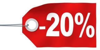 20 outre de l'étiquette Photographie stock libre de droits