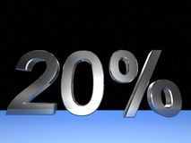 20 percent. 3d rendered numeric and percentage with space bacground Royalty Free Stock Image
