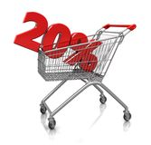 20 percent in cart. Red  twenty percent placed in shop cart   on a white background Royalty Free Stock Photography