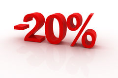 20 percent discount. Red sign showing a 20 percent discount vector illustration