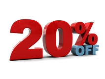 20 percent discount. 3d illustration of 20 percent discount sign, over white background Stock Photo