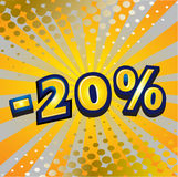 -20 percent discount. Yellow sign showing a -20 percent discount Royalty Free Stock Photo