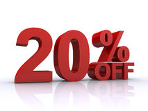 20 percent discount. 3d text over a white background Stock Images