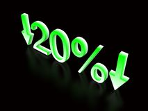 20 percent down green on black. 3d vector illustration