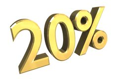 20 percent in gold (3D). 20 percent in gold (3D made Stock Photos