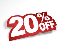20 percent off discount. Bend the text into sticker look stock illustration