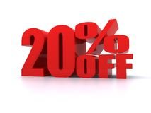 20% Percent off promotional sign royalty free stock photo