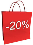 20 Percent Off Shopping Bag. Rendered shopping bag indicating 20 percent off isolated on a white background stock illustration