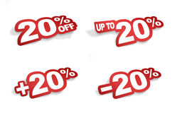 20 percent promotion. Bend the word 20 percent like a sticker Stock Images