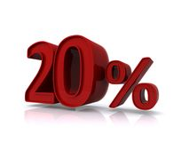 20 percent sign. 3d illustration of 20 percent sign isolated on white background Stock Photos