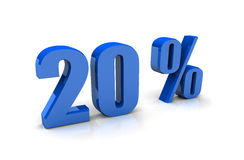 20 Percentage Sign. In Three-dimensional Shape stock illustration