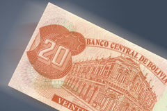 20 pesos bolivianos. A detail of bolivian currency pesos bolivianos Royalty Free Stock Images