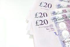 20-Pfund-Anmerkung bakground Stockfotos