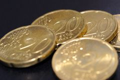 20 pièces de monnaie d'euro de cent Photographie stock