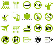 20 pictogrammes - vert Photos libres de droits