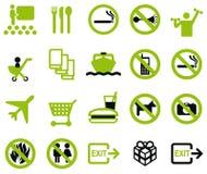 20 pittogrammi - verde Fotografie Stock Libere da Diritti