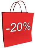 20 por cento fora do saco de compra Fotografia de Stock
