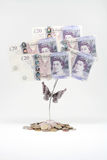 20 Pound Notes. And clipping holder Royalty Free Stock Photography