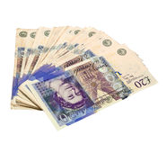 20 pound notes spread - Clipping path Stock Photos