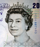 20 pounds. Portrait of the Queen. The very close-up of the England currency, 20 pounds royalty free stock images