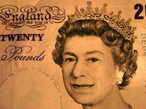 20 pounds. Portrait of the Queen. The very close-up of the England currency, 20 pounds stock photography