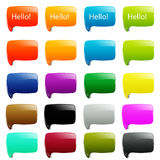 20 simple dialog speech. Bubbles web 2.0 rounded square shapes on white background Royalty Free Stock Photography