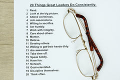 20 things great leaders do consistently. Concept stock image