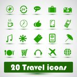 20 travel icons. With green Stock Photos