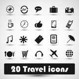20 travel icons. With green Royalty Free Illustration