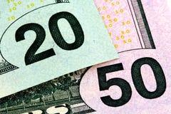 20 u. 50 Dollar Lizenzfreie Stockbilder
