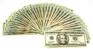 20 US Dollar Bills Stock Photography
