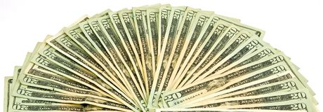 20 US Dollar Bills Royalty Free Stock Photography