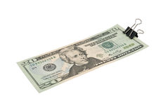 20 US dollars Bundle fasten with paper clip Stock Photos