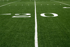 20 yard line. American football field at the 20 yard line royalty free stock photo