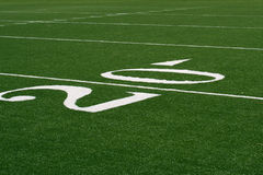 20 yard line. Marking on American football or gridiron pitch Royalty Free Stock Image