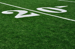 20 Yard Line on American Football Field Stock Photos