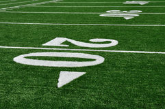 20 Yard Line on American Football Field. Copy Space Royalty Free Stock Photo
