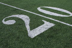 The 20 Yardline. The Twenty yard line of a football field Royalty Free Stock Photo