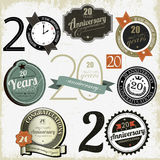 20 years anniversary signs and cards  design Stock Photos