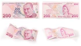 200张土耳其钞票-裁减路线 免版税图库摄影