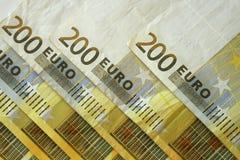 200 примечаний евро Стоковые Фото