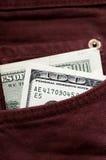 200 dólares no bolso Imagens de Stock
