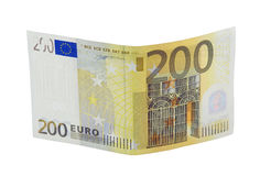 200 euro banknote. Two hundred euro banknote with a hologram isolated on a white background Stock Image