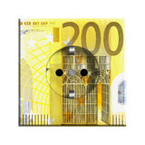 200 Euro banknote. Closeup of 200 Euro banknote isolated on white background Royalty Free Stock Photo